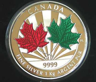 2014 Canada Maple Leaf Forever Enameled Kilo of 99.99% silver - 548 minted!