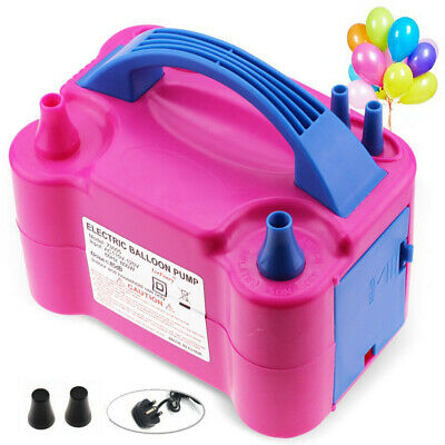 Portable Electric Balloon Inflator Pump Double Nozzles 600W Air Blower UK Plug