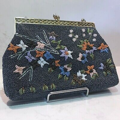 1950's vintage blue beaded evening bag with floral design