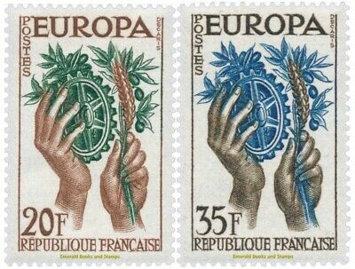 EBS France 1957 Europa CEPT cog, olive branch & ears of wheat YT 1122-1123 MNH**