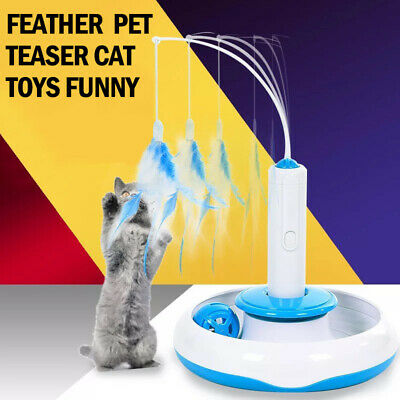 Tray With Feather Multifunction Rotating Pet Teaser Cat Toys Funny Electric CY