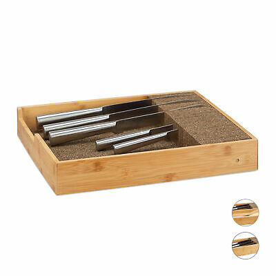 Wooden Knife Block, Drawer Insert Organizer, Extendable, Cutlery Storage