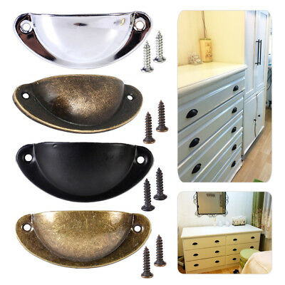 6/12Pcs Cupboard Door Cabinet Cup Drawer Furniture Antique Pull Shell Handle UK