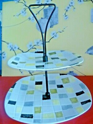 Midwinter Double Cake Stand Mosaic by Jessie Tait 1960s