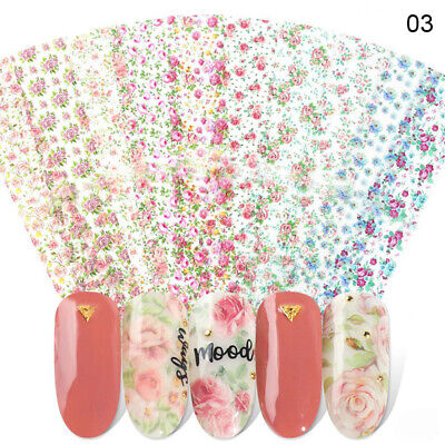 10 Sheets/Set Nail Art Foils Stickers Colorful Transfer Decals Decoration Tips