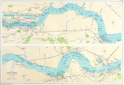 THE PORT OF LONDON , 1919 - The RIVER THAMES, WOOLWICH to TILSBURY, Antique Map.