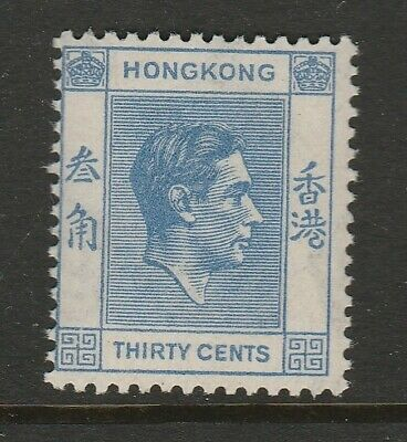 Hong Kong 1938-52 George VI 30c Blue SG 152 Mnh.