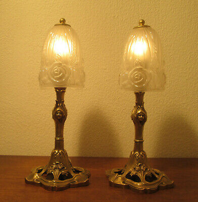 Pair Of Stunning French Art Deco Table Lamps 1920/25 - Baccarat - Bronze
