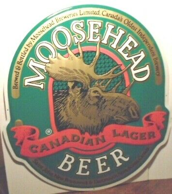 """Gorgeous, New Moosehead Beer Canadian Lager Embossed Huge 26"""" X 24"""" Tin Sign"""
