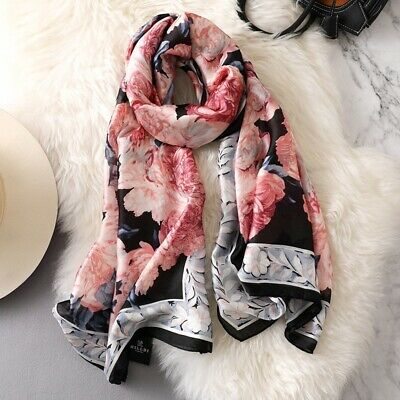2019 Women Lady Winter Quality Elegant Floral Print Large Silk Scarf Wrap Shawl