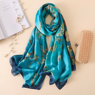 2019 Women Lady Winter Quality Vintage Print Large Silk Scarf Wrap Shawl