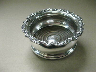 Antique Small Wine Bottle Coaster ~ Silver Plated & Wood