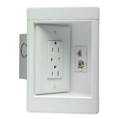 1-Gang Recessed TV Media Box Kit with Surge Suppressing Outlet