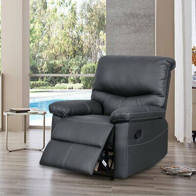 PU Leather Sofa 1 Seater Bonded Recliner Sofa Couch Settee Black Living Room