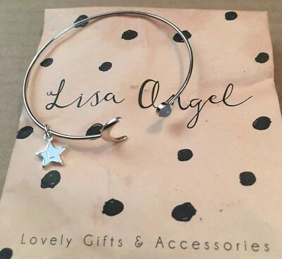 Lisa Angel silver plated open moon and semi precious resin stone bangle bracelet