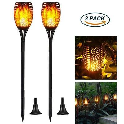 Solar Torch Lights Waterproof Dancing Flickering Flame for Garden Patio 2-Pack