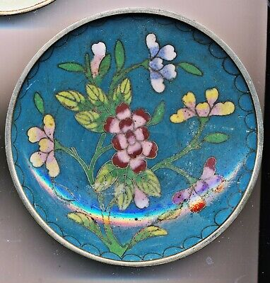 Antique Chinese Cloisonne Round Small Plate, Coaster, Turquoise Floral
