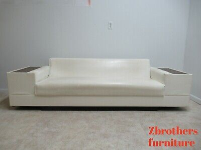 Vintage Mid Century White Vinyl Commander Sofa Couch Living Room End Table