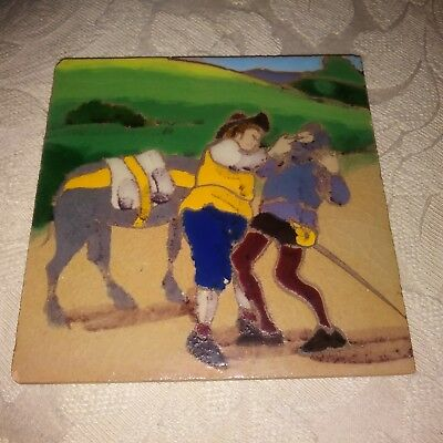 "Antique RAMOS REJANO Sevilla Don Quixote hand painted Ceramic Tile 5 1/2"" sq."