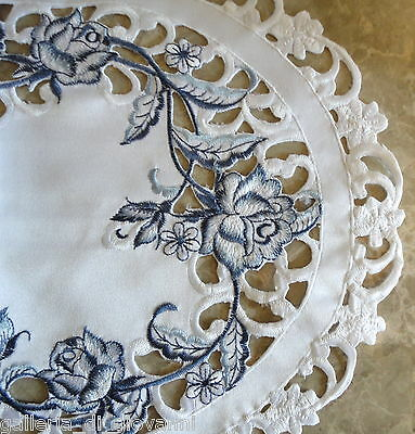 """DUTCH DELFT  Lace Doily  33"""" Table Runner White & Blue Rose"""