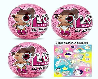 LOL Surprise Lil Sisters 3 Pack With Stickers New/Authentic Series 4 Wave 2
