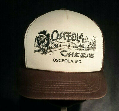Vtg 70-80s Brown Cream Foam Mesh SnapBack Trucker Farmer Hat Cap Osceola Cheese