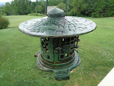 Vtg Cast Iron Japanese Pagoda Hanging Footed Garden Patio Lantern Candle Holder
