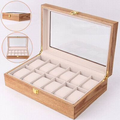 12 Grids Wooden Watch Display Case Storage Box Winder Jewelry Collection Visible