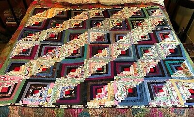"Antique Patchwork Quilt 70"" X 60"" .....SEE BACK...WOW!!!"