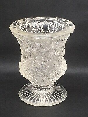 EAPG Miniature Pressed Glass Vase Daisy & Button Urn 2.5""