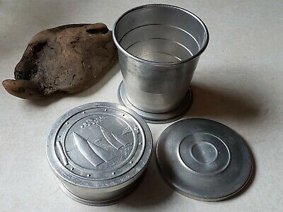 Vintage Made In Usa Aluminum Metal Sailing Ship Collapsable Travel Cups