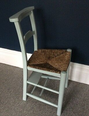 HAND PAINTED Vintage Chapel Church Chair Rush Seat Distressed ShabbyChic