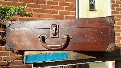 Nice Old Dovetailed Wooden Box Case with metal corners