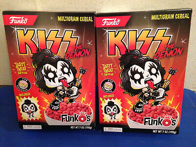 Funko Kiss The Demon Funkos Cereal & Gene Simmons Pocket Pop 2 Box Lot In Hand