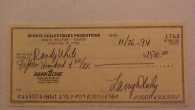 Signed cancelled check to Cowboys HOF great Randy White - scarce collection item