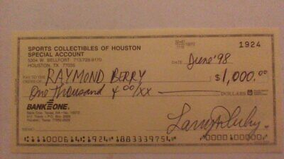 Signed cancelled check to Colts HOF great Raymond Berry - scarce collection item