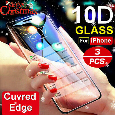 For IPhone X,XS MAX XR 8 7 6 10D Full Cover Real Tempered Glass Screen Protec J)