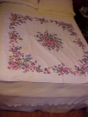 Vintage Printed Tablecloth w/ Purple, Pink, and Blue Flowers