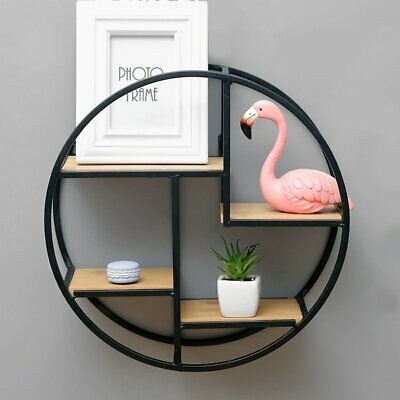 Black Wire Metal 4 Tier Round Floating Wall Hanging Shelf Display Storage Shelve