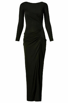 Badgley Mischka Women's Dress Black US Size 6 Ruched Long Sleeve Gown $935- #686