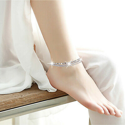 Adjustable Silver Ankle Bracelet Diamante Rhinestone Anklet Foot Jewelry Chain