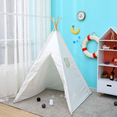 Large Cotton Canvas Kids Teepee Tent Children's Wigwam Indoor Outdoor Play House