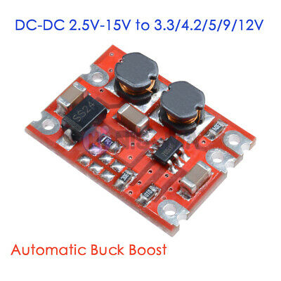 DC-DC 2.5V-15V To 3.3V/4.2V/5V/9V/12V Automatic Buck-Boost Step Up Down Module