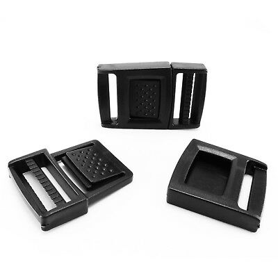 Black plastic quick release buckles adjustable Clips 25 mm webbing straps AWY