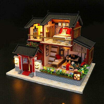 DIY 3D Miniature Build Gift Chinese Style Toy House Model Kit LED Lighting Wood