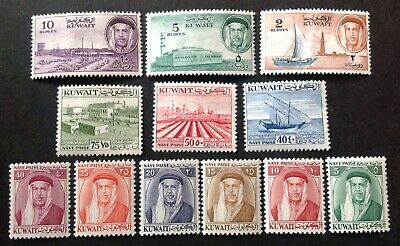 Kuwait 1958 + 12 X Stamps To 10 Rupees Mint Hinged