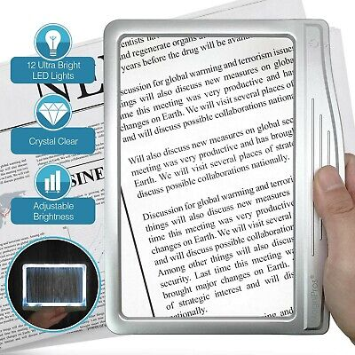 Page Magnifier For Reading With Light 3X Full Low Vision Seniors Aging Eyes NEW