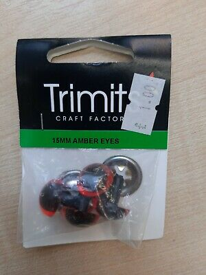 AMBER SAFETY EYES FOR TOYS, DOLLS, BEARS, CRAFT -  15mm