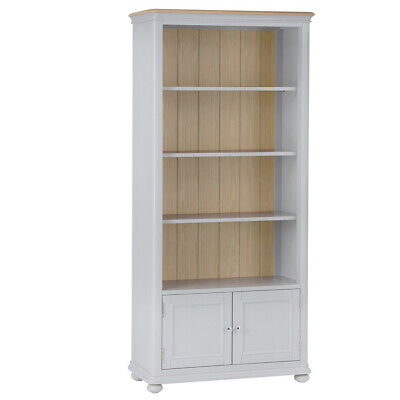 Foxcote Soft Grey Large Bookcase -Painted Tall Bookshelves With Natural Oak Top