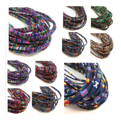 FABRIC COVERED ETHNIC COLOURFUL FLAT CORD JEWELLERY STRING NECKLACE ROPE 5 x 1mm